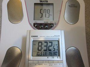 10月31日の旦那くんの体重、57.9㎏