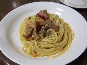 オリーブオイルを使って作ったペペロンチーノ