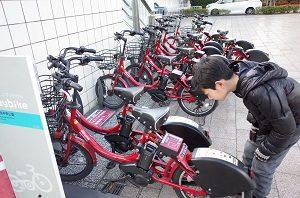 横浜のみなとみらいに買い物に行くときはレンタサイクルを利用するよ。