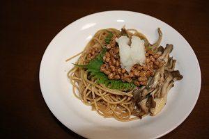 納豆とマイタケのペペロンチーノ