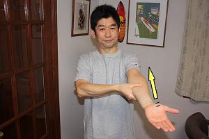 二の腕に向かって親指をすっーと上げて来る。