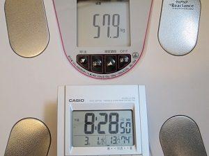2017年3月1日の体重は57.9キロ。
