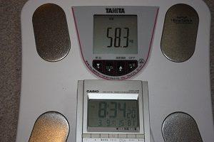 今日の体重は58.3㎏