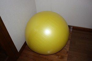 我が家のバランスボール。最初、ムズいようだったら空気を少なめにしてやってミテ