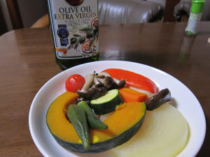 蒸したかぼちゃにオリーブオイル