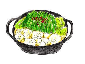 キャベツがたっぷりのもつ鍋。福岡に住んでた時、よく食べたな〜