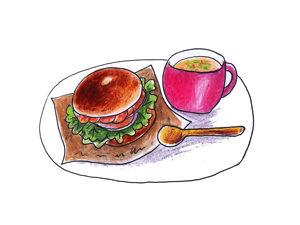 こんなオサレなベーグルの朝食。きっとインスタ映えするよ